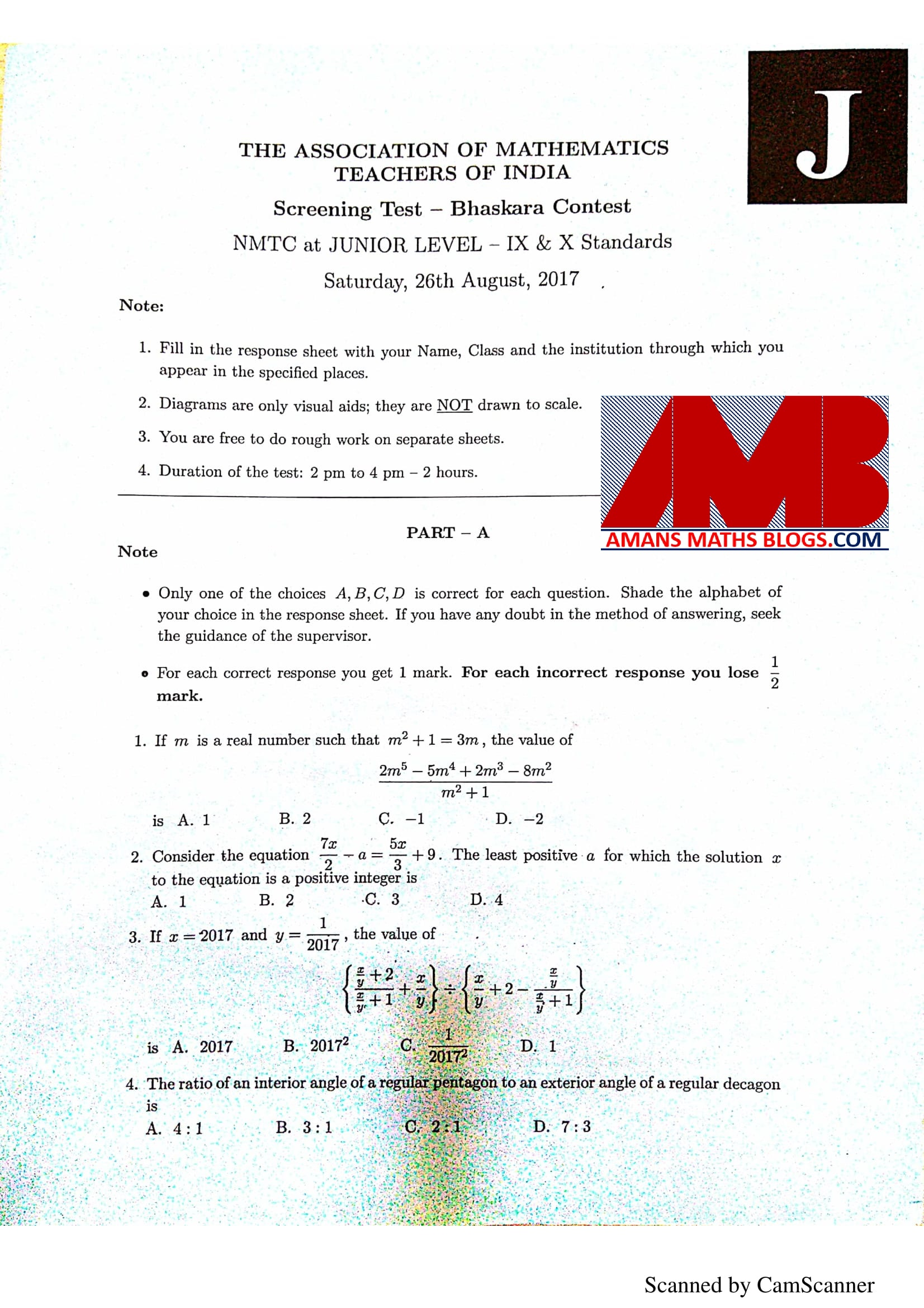 NMTC 2017 (5th-6th-7th-8th-9th-10th) Answer Keys With Solution