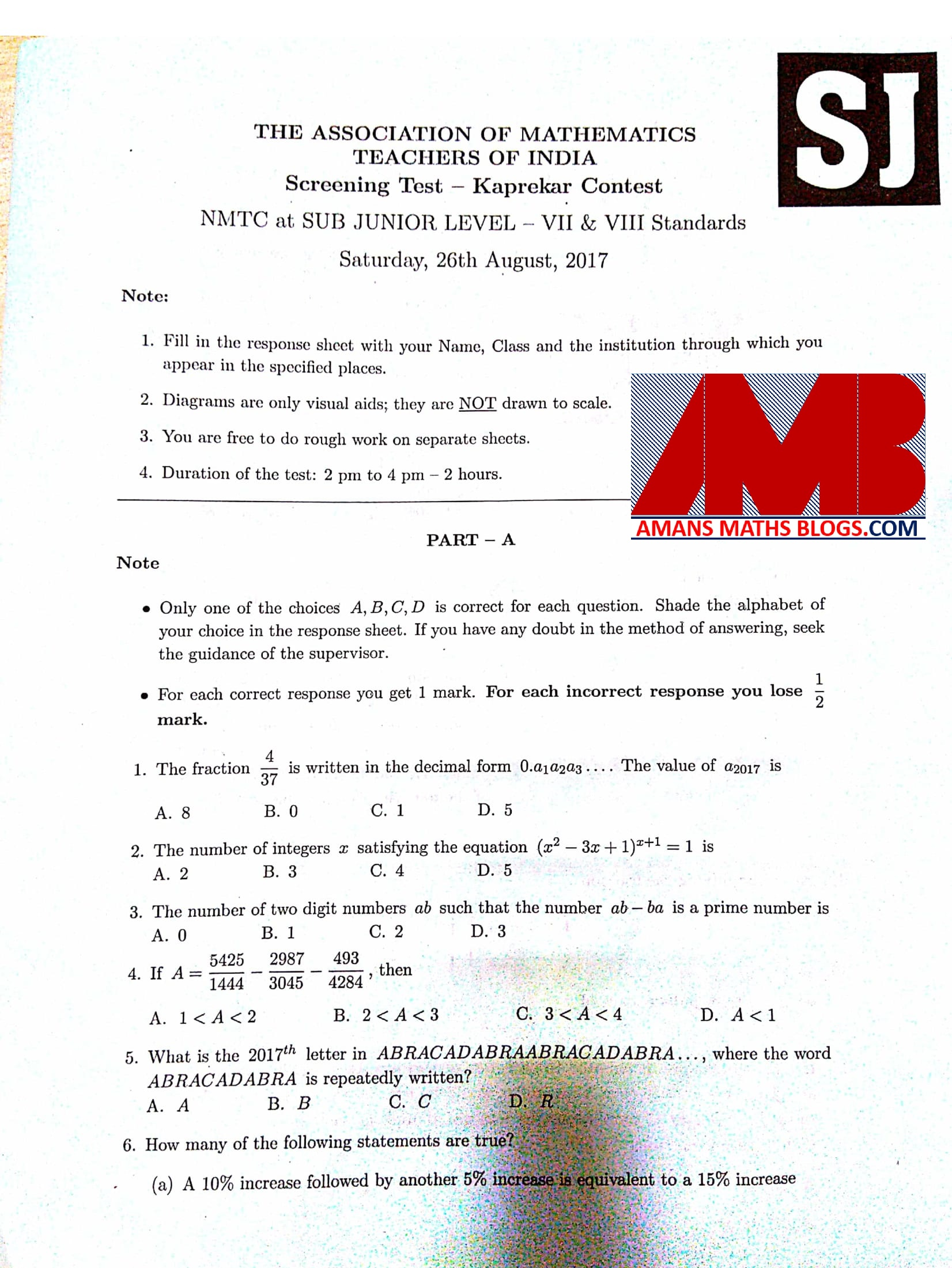 NMTC 2017 Question Papers With Solutions Sub Junior Level For Class