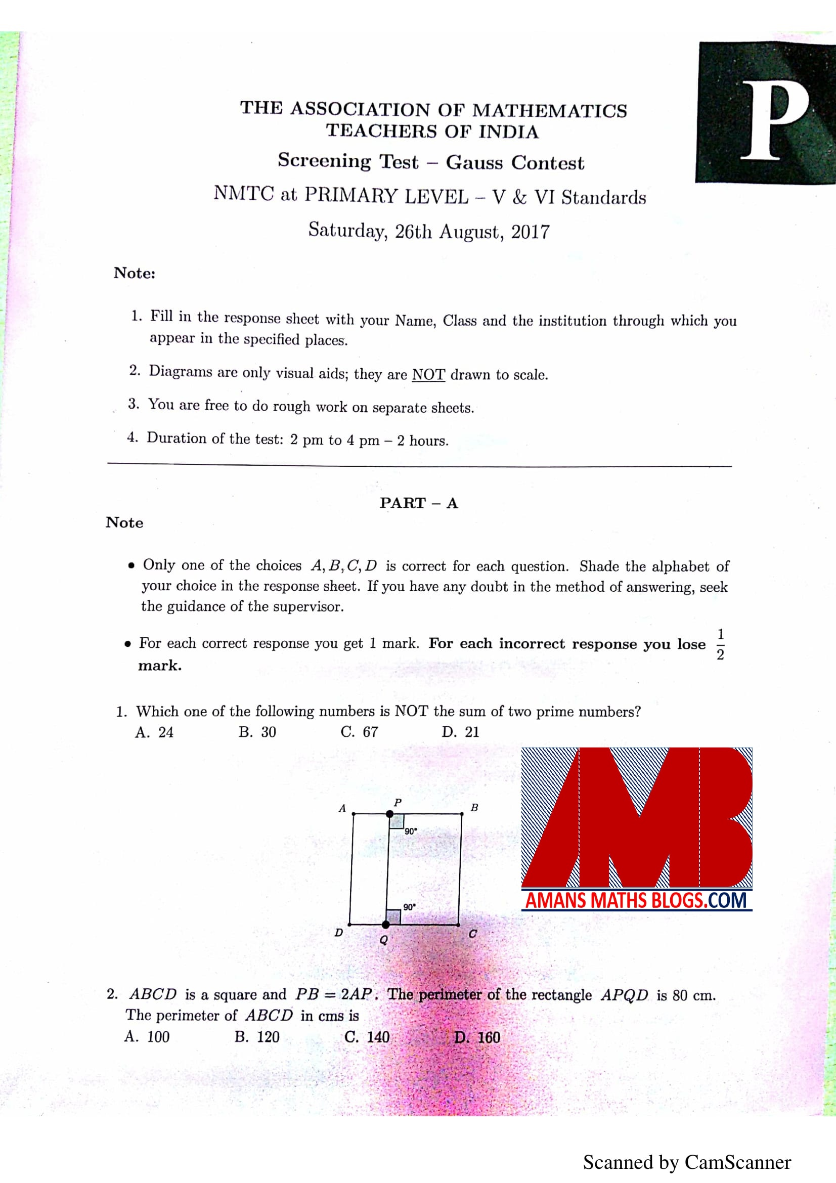 NMTC 2017 Question Papers With Solutions Primary Level For