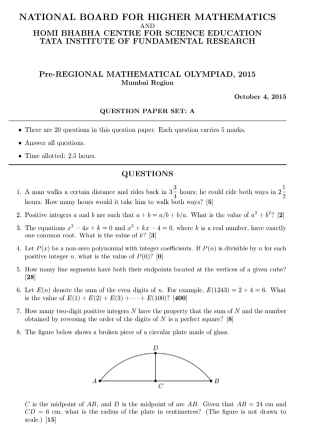 Pre RMO Previous Year 2015 Question Paper With Solution