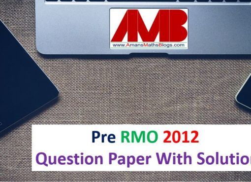 pre rmo 2012 question paper with solutions