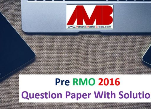 pre rmo 2016 question paper with solutions
