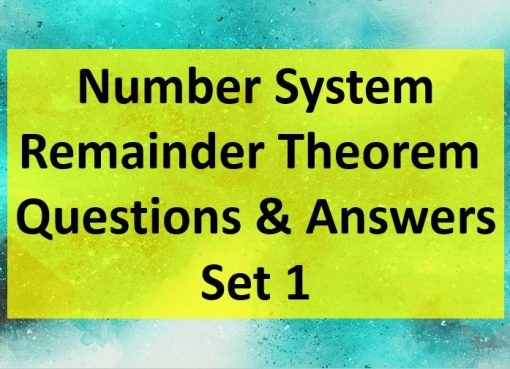 Remainder Theorem Question and Answer Set 1