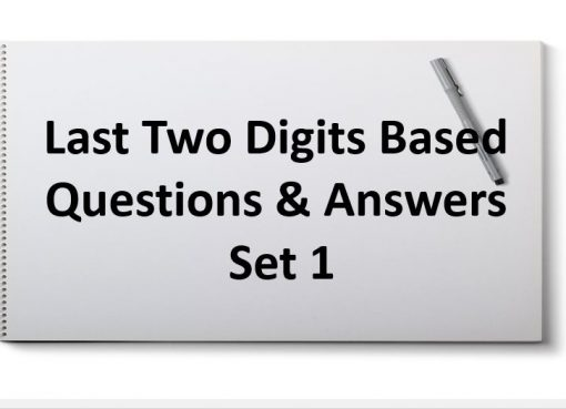 last two digits based questions and answers set 1