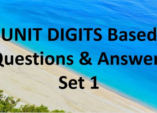 units digits based questions and answers set 1