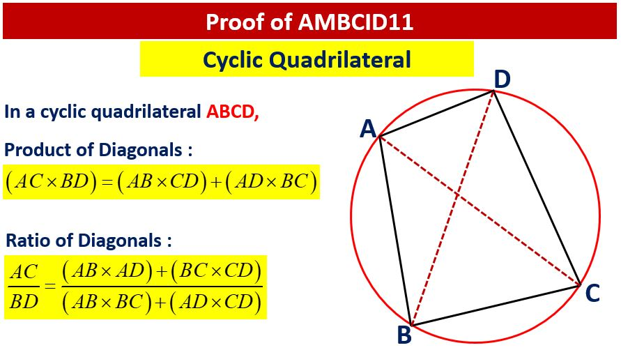 cyclic quadrilateral ptolemy theorem