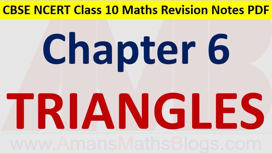 Similar Triangles CBSE NCERT Notes Class 10 Maths Chapter 6 PDF