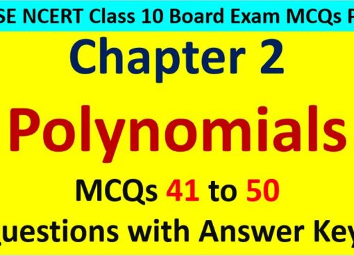 CBSE Class 10 Math Polynomials MCQ Questions with Answer Keys