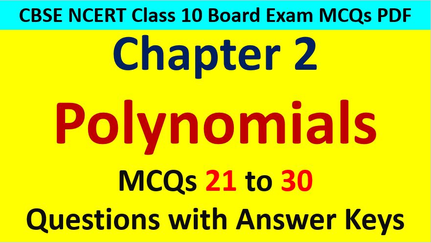 Important MCQ Questions for Class 10 Maths Chapter 2 Polynomials AMBiPi