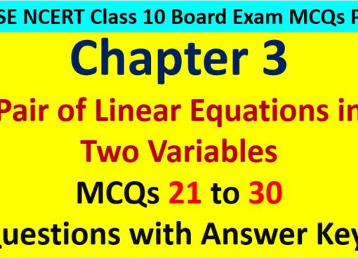 Important MCQ Questions for Class 10 Maths Chapter 3 Linear Equations in Two Variables