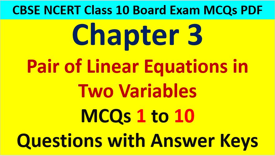 MCQ Questions for Class 10 Maths Chapter 3 Linear Equations in Two Variables 1 to 10 with Answer Keys PDF AMBiPi