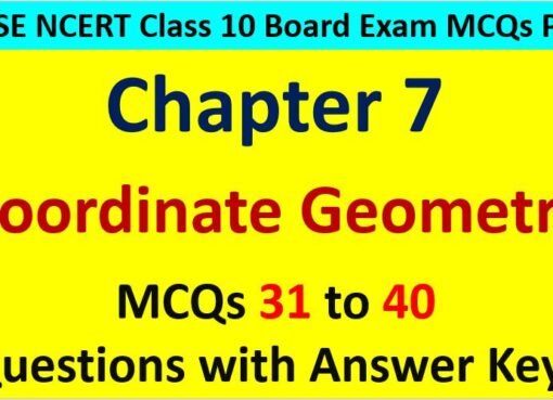 Extra MCQ Questions for Class 10 Maths Chapter 7 Coordinate Geometry