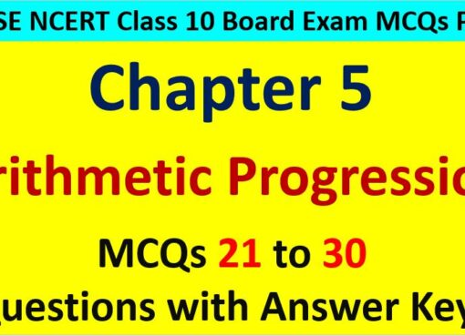 Important MCQ Questions for Class 10 Maths Chapter 5 Arithmetic Progression