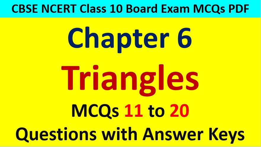 Similar Triangles Class 10 Maths MCQ with Answer Keys Solutions PDF